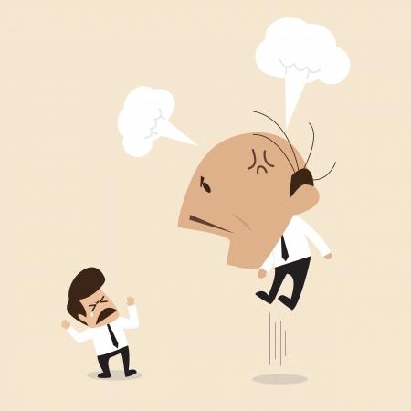 jefe enojado: Protuberancia enojada est� gritando a su empleado