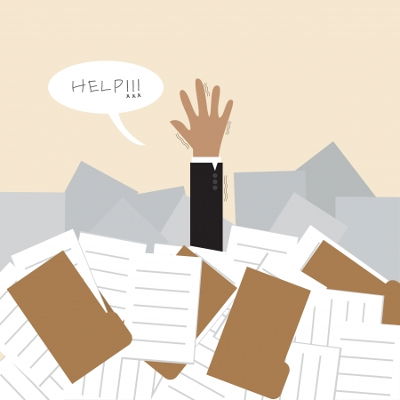 workload: Businessman under a lot of document and call for help
