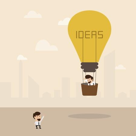 lightbulb idea: Uomo d'affari sul lampadina idea