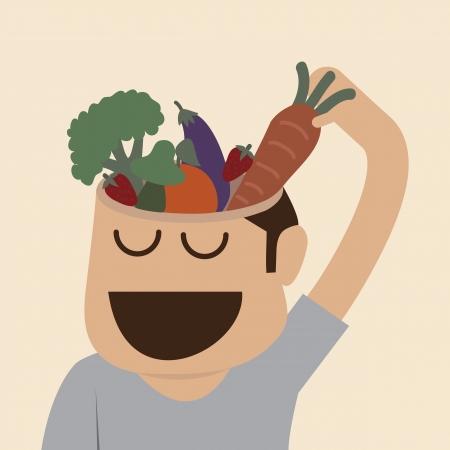 mente humana: La comida de cerebro Vectores