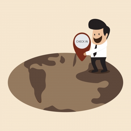 locating: Businessman is locating his location on earth Illustration