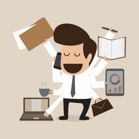 busy person: Hombre de negocios con habilidad multitarea y multi m�ltiple