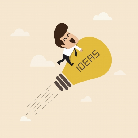 launching: Businessman on a moving lightbulb idea rocket