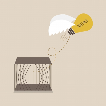 conceptual bulb: Idea escape form the cage