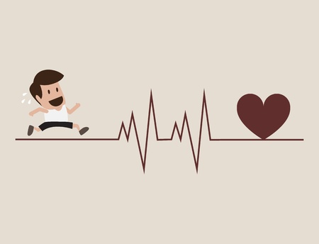 Athlete running with cardiogram symbol Vector