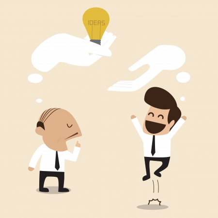Senior advisor give an idea to young businessman Vector