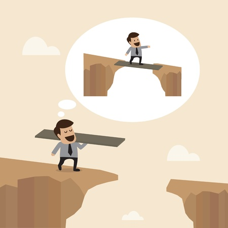 abyss: Businessman with wooden plate to Cross the cliff