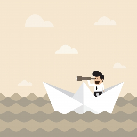 looking away: Businessman on paper boat searching for opportunity Illustration