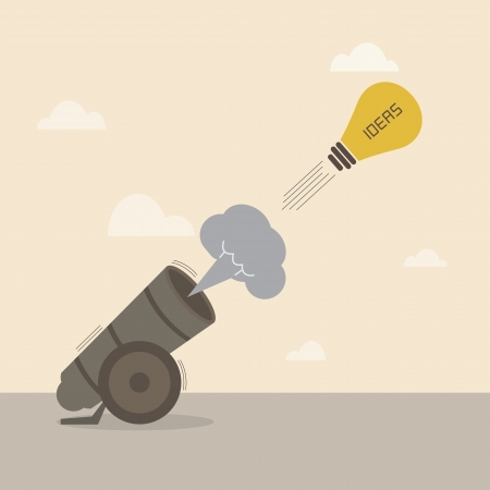 a cannon: Lighbulb idea is launched from big cannon