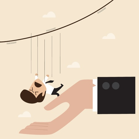 Zakenman vallen van touw om de grote wijzer