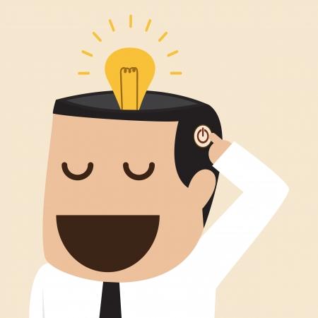mente humana: Encienda idea bombilla Vectores