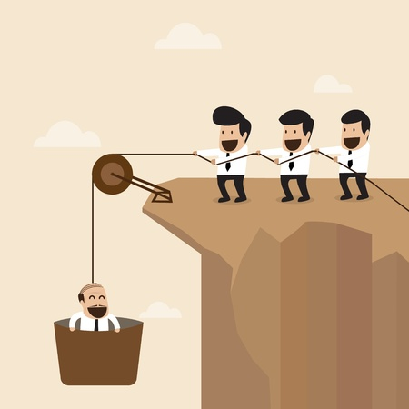 pulley: Teamwork concept   Businesspeople help to pull another from bottom of cliff