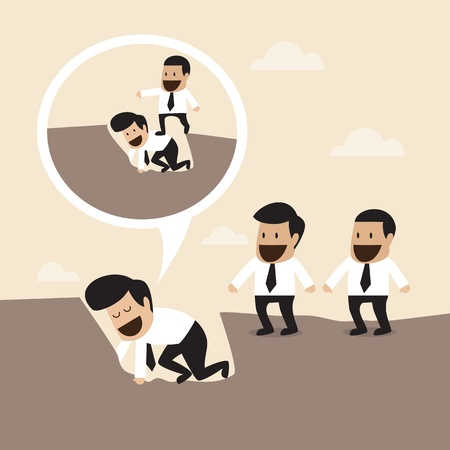 karma concept: Leadership concept   Walking over manager body to Cross the hole