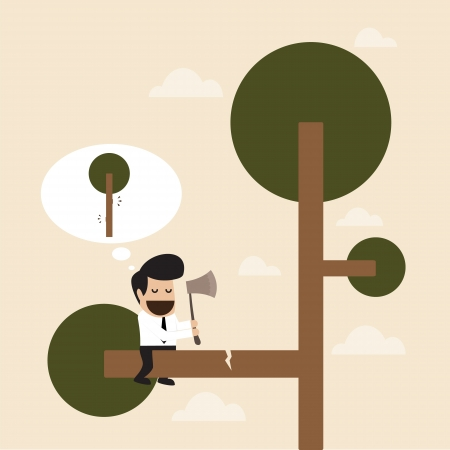 branch cut: Man cut the branch of the tree with risk behavior Illustration