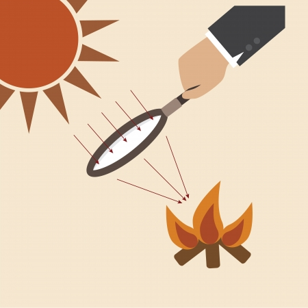 Magnifying lens with sun light creat fire Vector
