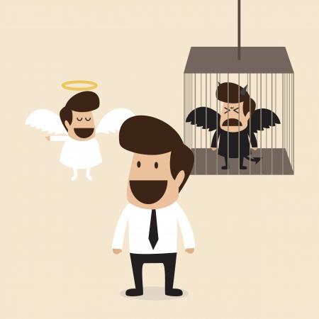 obedecer: Hombre de negocios que decide creer mente ángel y diablo bloqueo mental en la jaula Vectores