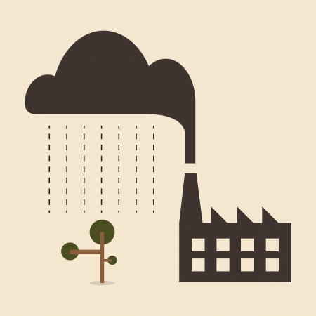 lluvia acida: Acid causa lluvia de contaminaci�n de la industria cae en el �rbol Vectores