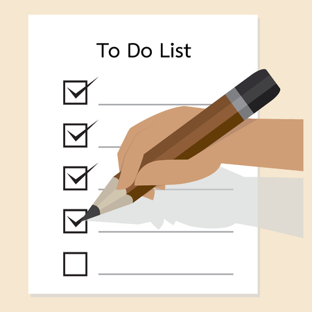 to do list: Hand with pencil and check boxes Illustration