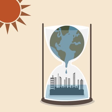 World is melting and flood over metropolis in hourglass Illustration