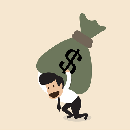 bag of money: Vector cartoon of Businessman carry huge money bag