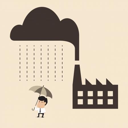 산업 오염 산성비 원인의 벡터 만화 사람들에게 떨어지는