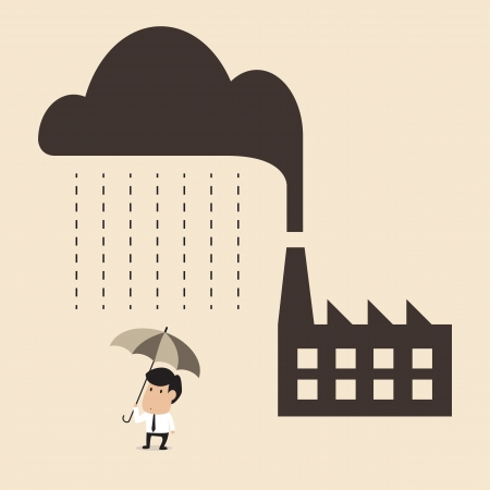 Vector cartoon of Acid rain cause from industry pollution falling to people Illustration
