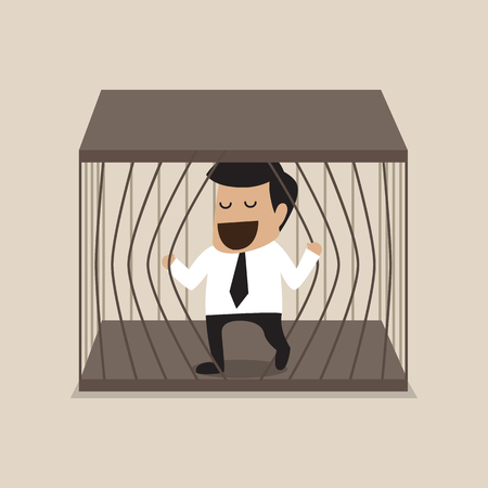 Vector cartoon of Businessman escape from jail Vector