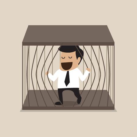 Vector cartoon of Businessman escape from jail Vector
