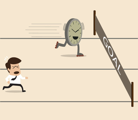Businessman racing on the running track with time Vector