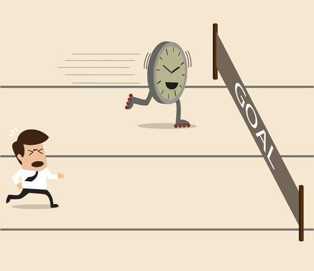 running track: Zakenman racen op de atletiekbaan met de tijd