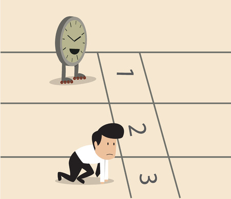 runner up: Businessman and clock with skate preparing running track