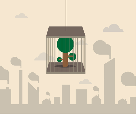 air plant: Vector cartoon of Tree in cage floating in the air Illustration