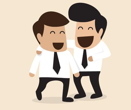boss: Vector de dibujos animados de la amistad entre dos hombre de negocios