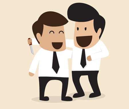 Vector cartoon of Businessman stabbing his friend in the back Vector
