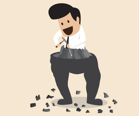 hombre flaco: Vector de dibujos animados de los Fatty hombre mismo la escultura en el hombre delgado