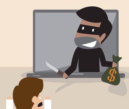 computer crime: Hacker stealing money