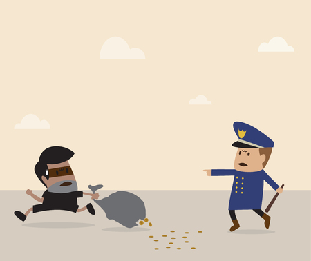 Vector cartoon of Policeman is chasing thiefg Illustration