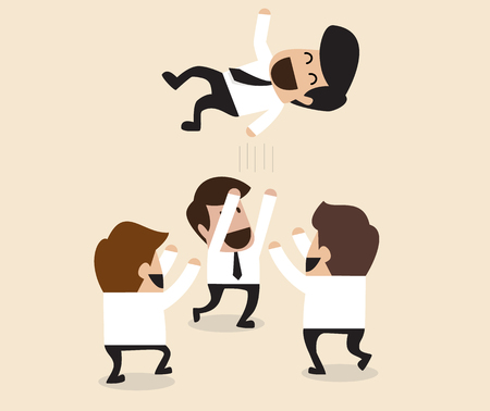 teammate: Vector cartoon of Businessmen throw up teammate to the air for congratulation