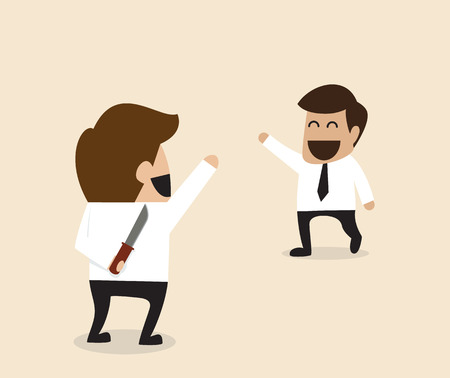 office politics: Vector cartoon of Businessman greeting his friend with knife behind the back Illustration
