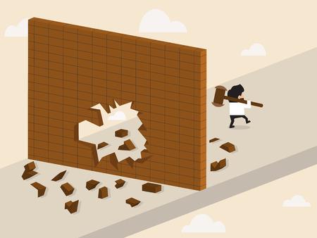 limit: cartoon of Businessman break a wall and walk apart