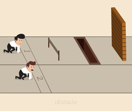 cartoon of Businessman with obstacle on the track