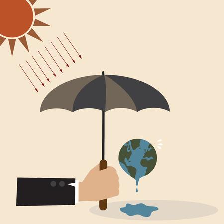 Konzept Hand mit Regenschirm Schutz der Erde