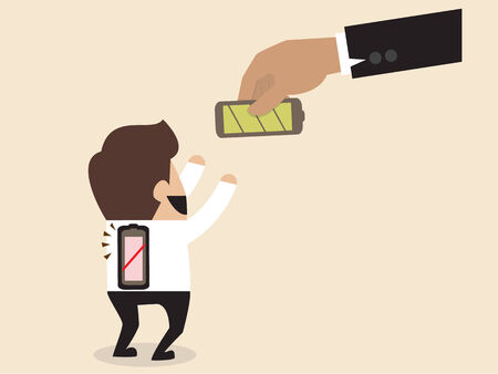 low battery: cartoon of Businessman is given a new battery to replace empty one