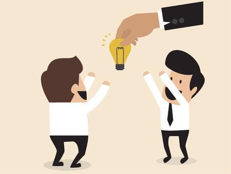 cartoon of Businessmen is given an idea light bulb Vector