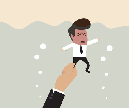 hand drown: Vector cartoon of Businessman is pulled underwater by big hand