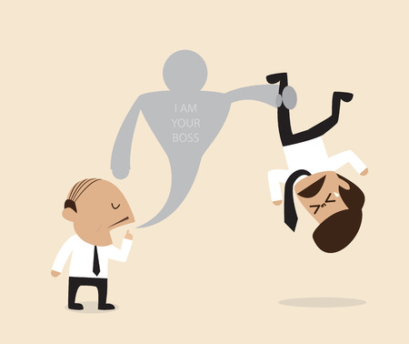 employer: cartoon of boss are saying with his employer Illustration