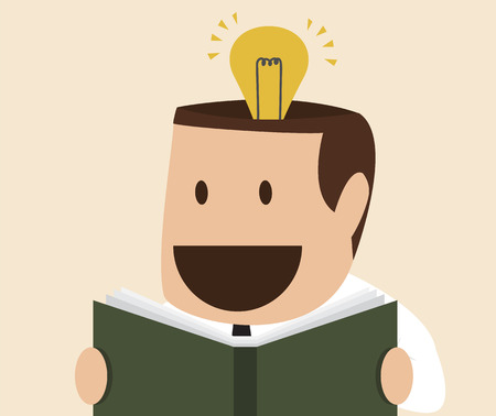 create idea: cartoon of man reading a book which create idea