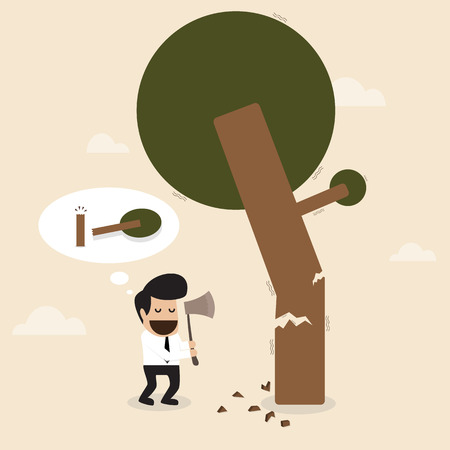 thoughtless: Man cut the branch of the tree with risk behavior Illustration