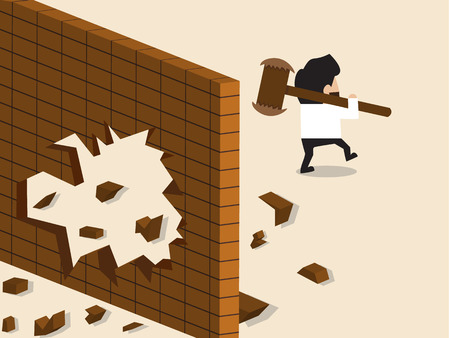hole in one: Vector cartoon of Businessman break a wall and walk apart