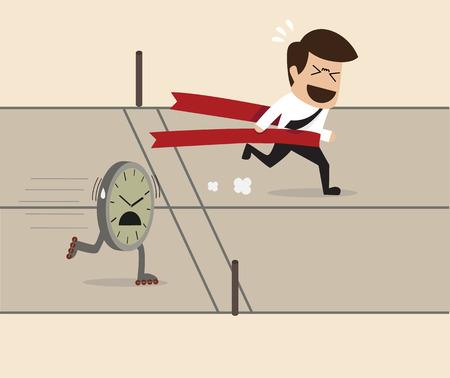 running track: Vector cartoon van de zakenman zich te winnen over een klok op de atletiekbaan Stock Illustratie